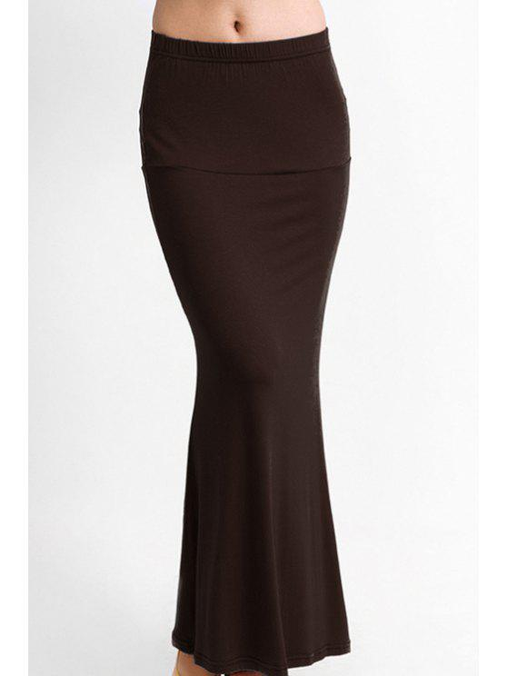online Packet Buttock Fishtail Solid Color Skirt - LIGHT BROWN S