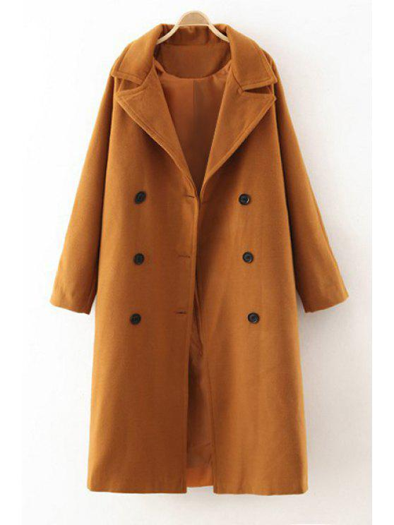 best Lapel Double-Breasted Worsted Coat - CAMEL S