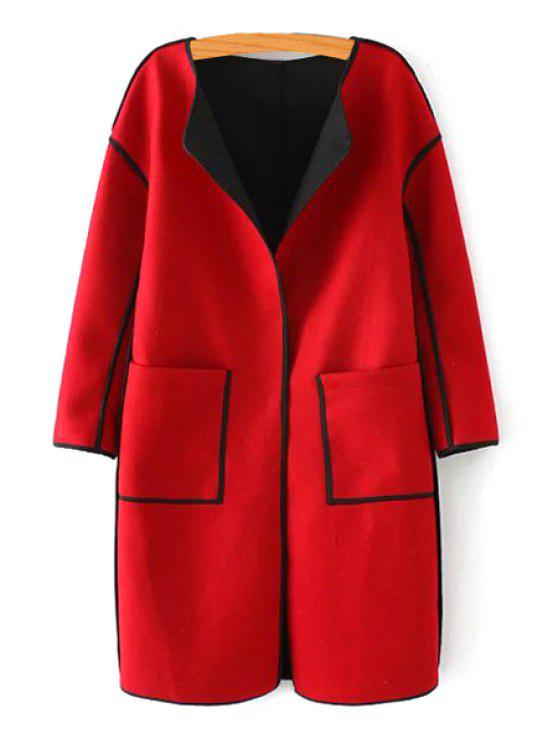best Color Block Turn Down Collar Long Sleeves Coat - RED S