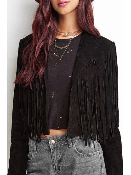online Suede Solid Color Lapel Collar Long Sleeves Jacket - BLACK XS