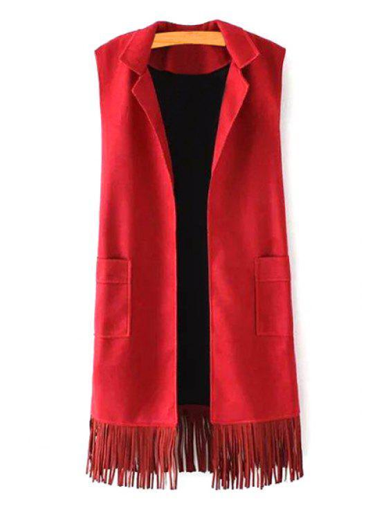 trendy Tassels Lapel Faux Suede Waistcoat - RED M