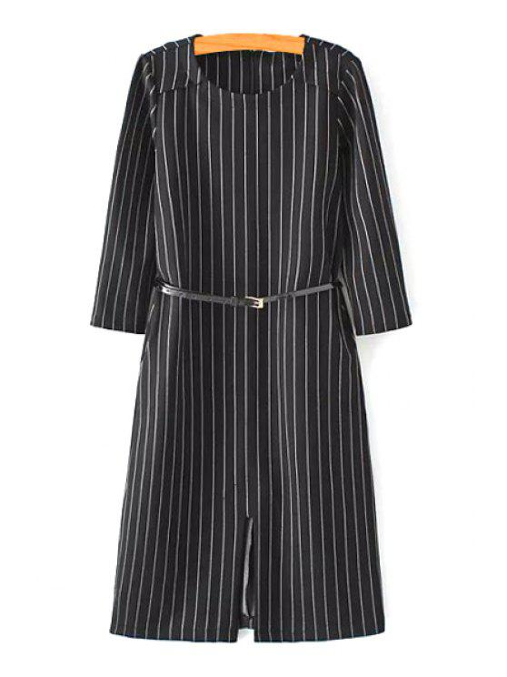 unique Stripe Jewel Neck Long Sleeves Dress - WHITE AND BLACK S