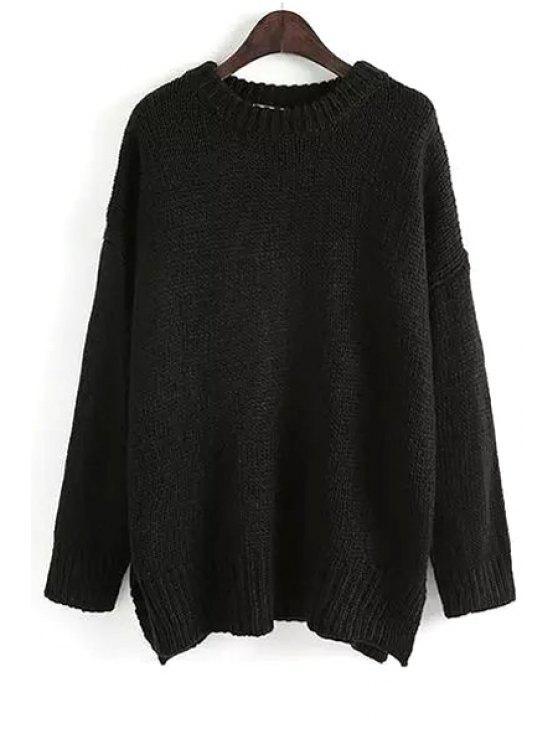 hot Pure Color Long Sleeve Side Slit Jumper - BLACK M