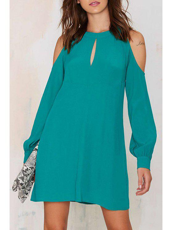 online Solid Color Cut Out Jewel Neck Lantern Sleeves Dress - LIGHT BLUE XS