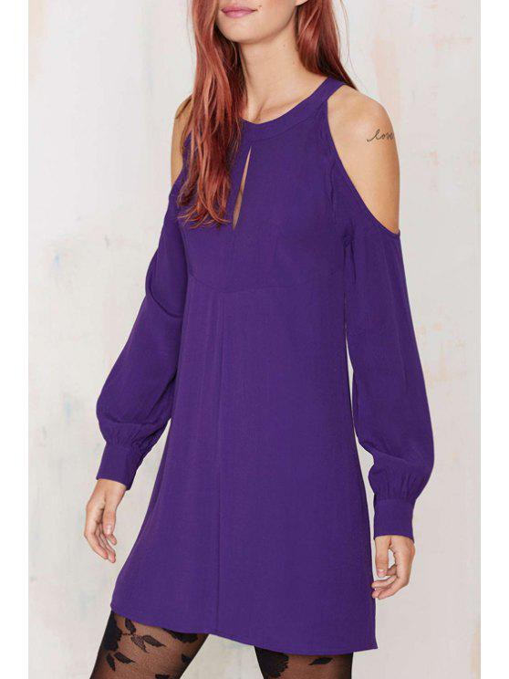 hot Solid Color Cut Out Jewel Neck Lantern Sleeves Dress - PURPLE XS