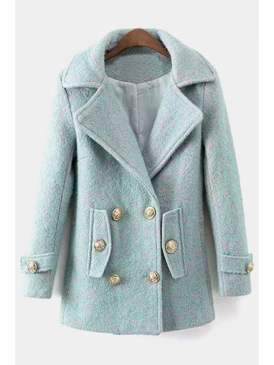 women Pure Color Lapel Long Sleeve Worsted Coat - AS THE PICTURE M