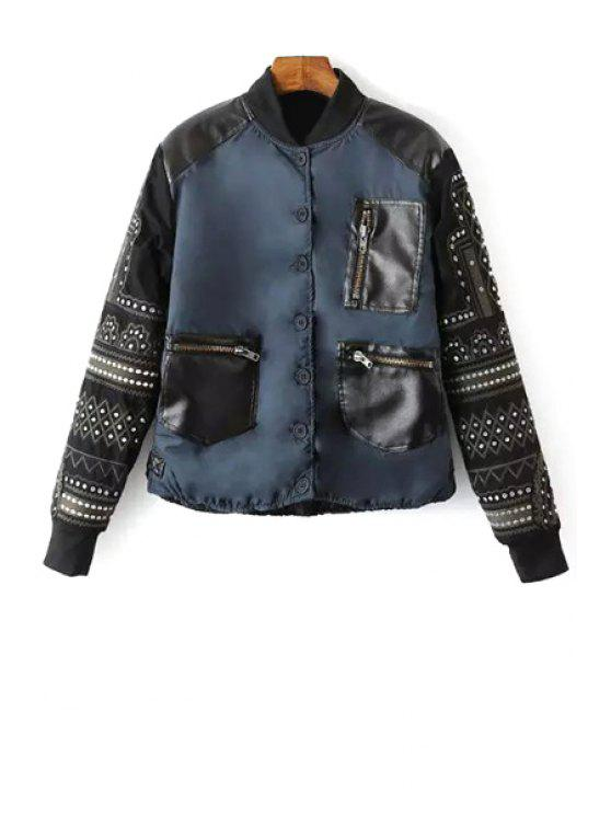 fashion Embroidery Spliced Stand Neck Baseball Jacket - CADETBLUE M