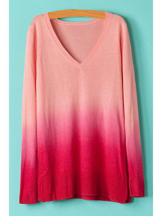 outfits V-Neck Ombre Color Knitwear - RED XL