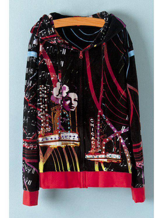 fashion Music Note and Figure Print Jacket - BLACK M