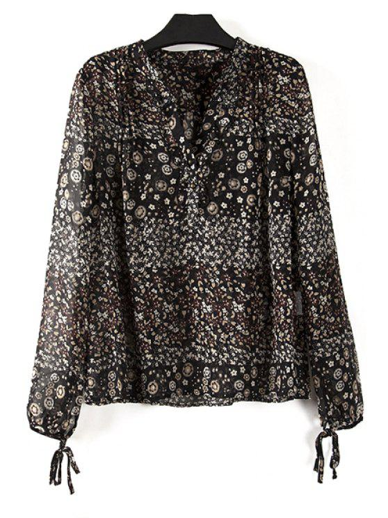 outfits Tiny Floral Plus Size Chiffon Fall Top - COLORMIX 2XL