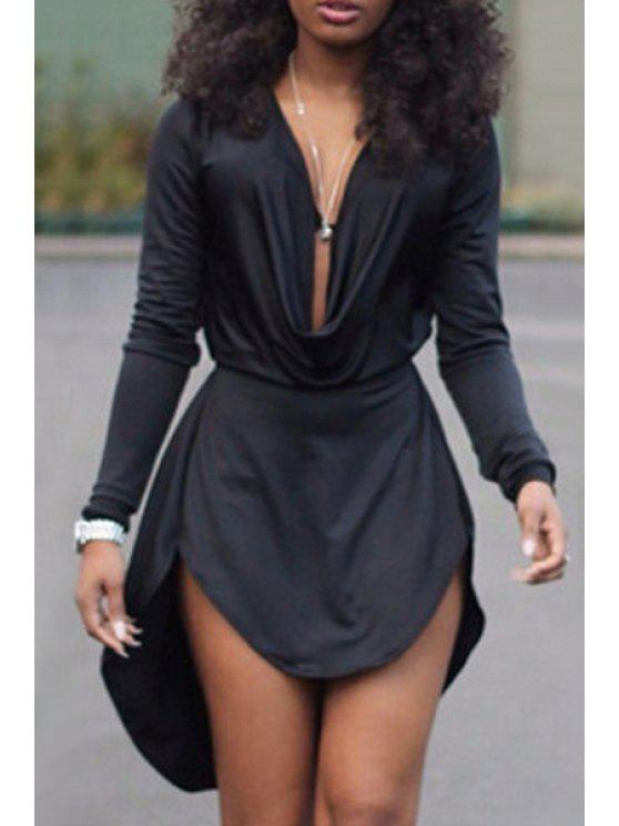 best Solid Color High Low Long Sleeve Dress - BLACK XL