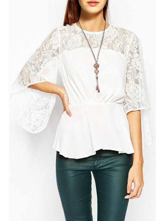 women's Solid Color Openwork Lace Hook Spliced Blouse - WHITE XS