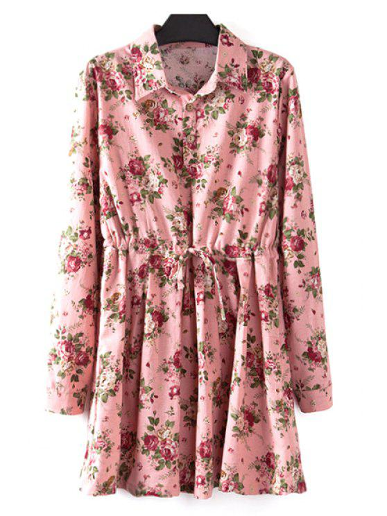 online Floral Print Plus Size Drawstring Dress - PINK XL