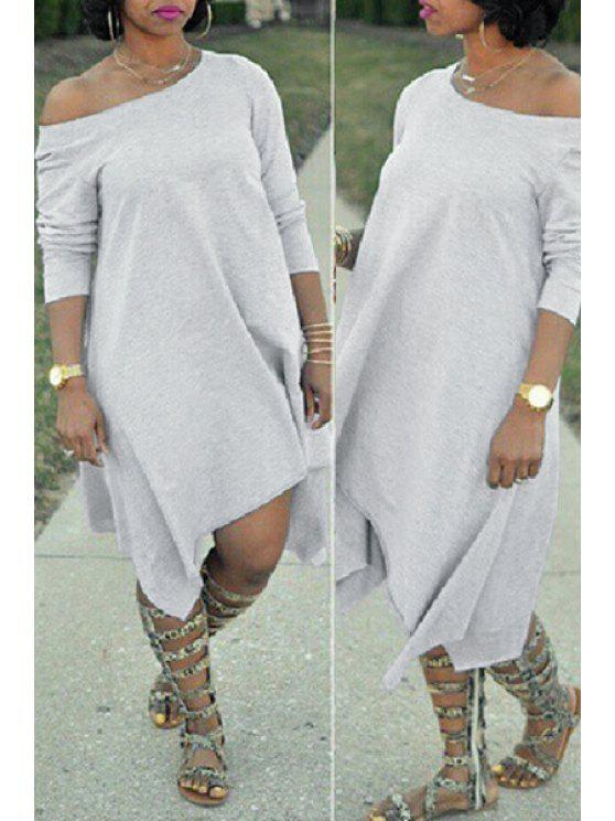 outfit Gray Oblique Shoulder Long Sleeve Dress - GRAY S