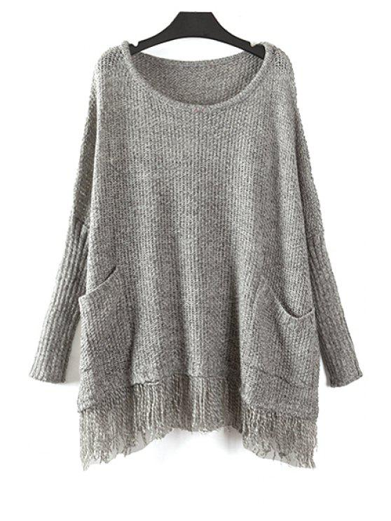 latest Batwing Sleeve Fringed Sweater - LIGHT GRAY ONE SIZE(FIT SIZE XS TO M)
