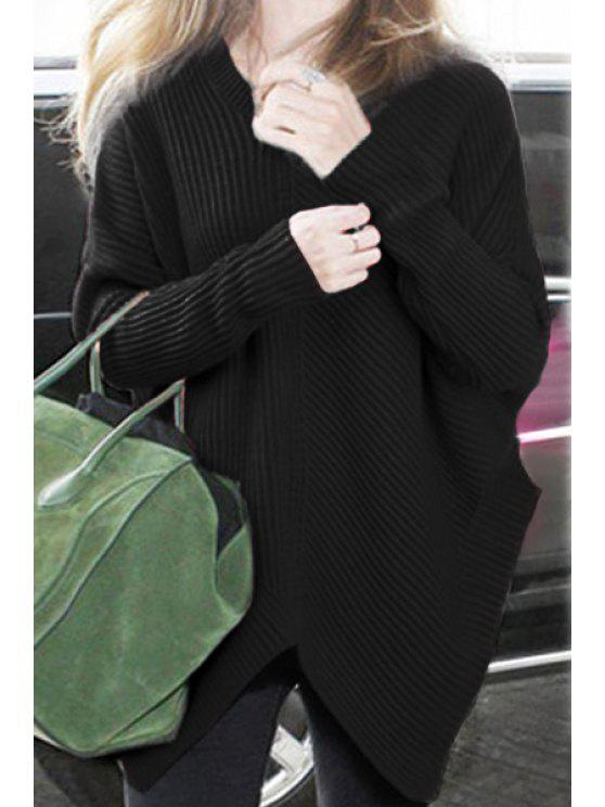 outfits Solid Color Loose V Neck Long Sleeve Jumper - BLACK ONE SIZE(FIT SIZE XS TO M)