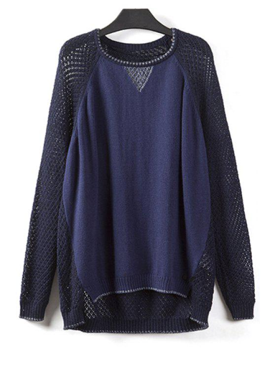 buy Hollow Out Color Block Sweater - CADETBLUE L