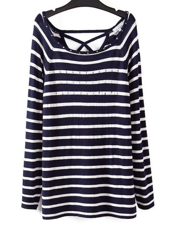 best Striped Rhinestone Embellished Knitwear - BLACK AND WHITE M