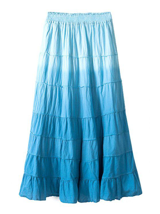 shop Ombre Color Tiered Long Skirt - BLUE ONE SIZE(FIT SIZE XS TO M)