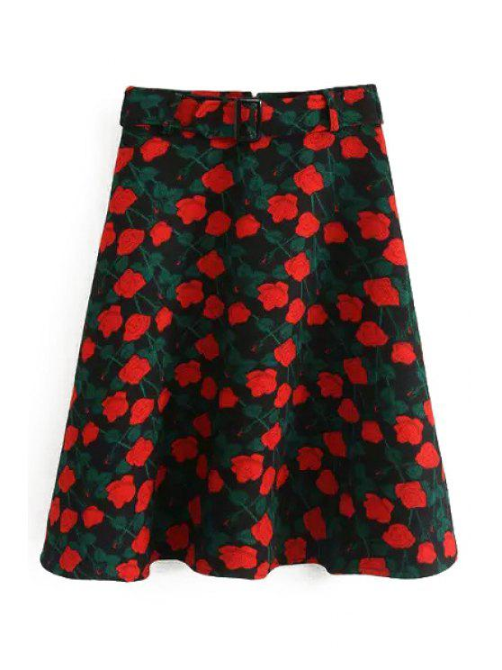 outfits Red Floral Print High Waisted Skirt - RED AND GREEN S
