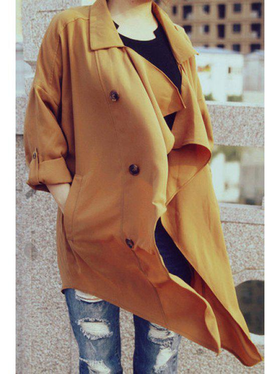 unique Chiffon Turn Down Collar Long Sleeve Trench Coat - DUN M