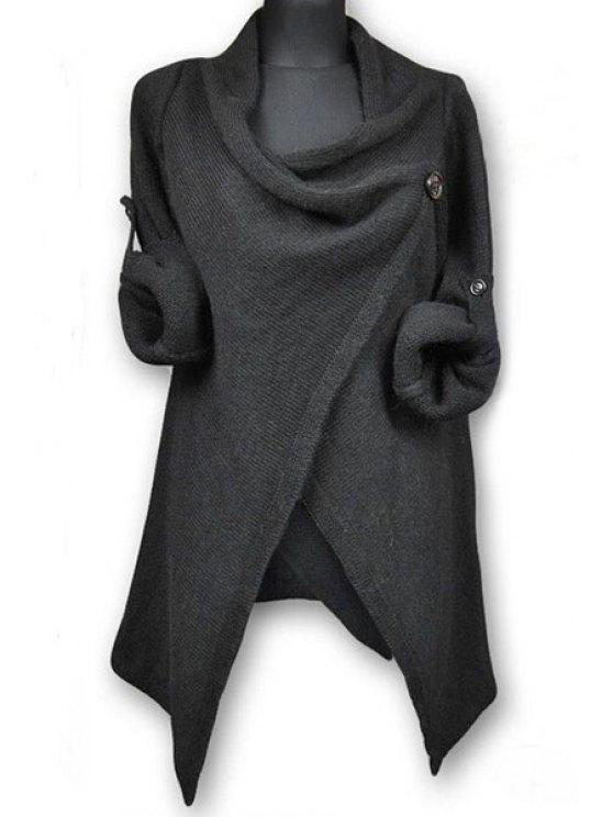 Suéter de botón de color sólido de mangas largas - Gris Oscuro Un tamaño(Montar tam