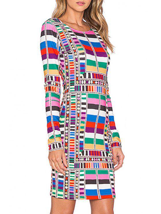 shop Colorful Geometric Print Bodycon Dress - COLORMIX S