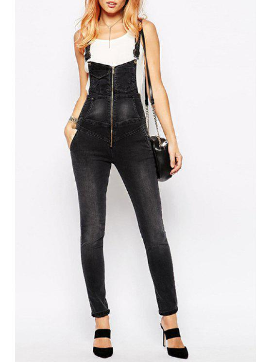 best Black Denim Straps Overalls - BLACK L