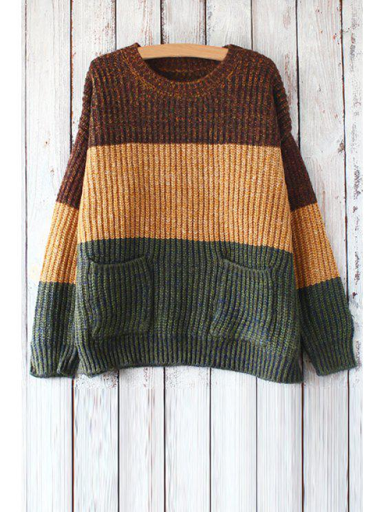 new Color Block Pockets Long Sleeves Sweater - COFFEE ONE SIZE(FIT SIZE XS TO M)