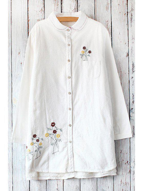 ladies Embroidery Print Thicken Flat Colar Long Sleeves Shirt - WHITE ONE SIZE(FIT SIZE XS TO M)