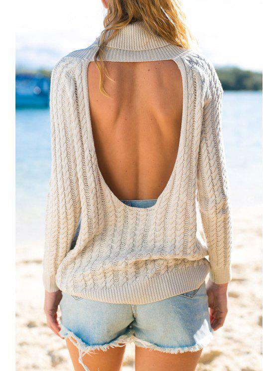 fancy Turtle Neck Hollow Back Sweater - WHITE ONE SIZE(FIT SIZE XS TO M)
