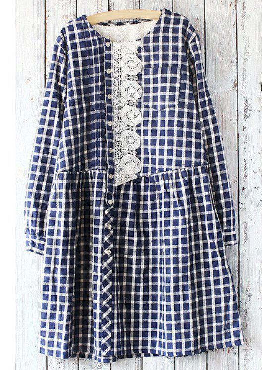 sale Embroidery Print Checked Round Collar Long Sleeves Dress - PURPLISH BLUE ONE SIZE(FIT SIZE XS TO M)