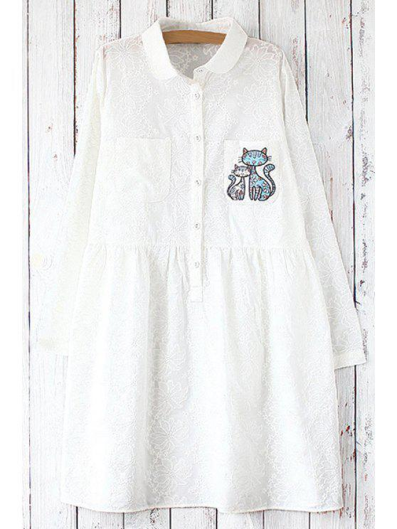 lady Cartoon Embroidery Print Flat Collar Long Sleeves Shirt - WHITE ONE SIZE(FIT SIZE XS TO M)
