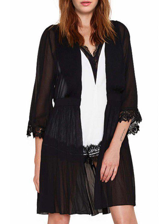 trendy Lace Spliced 3/4 Sleeve Black Blouse - BLACK S
