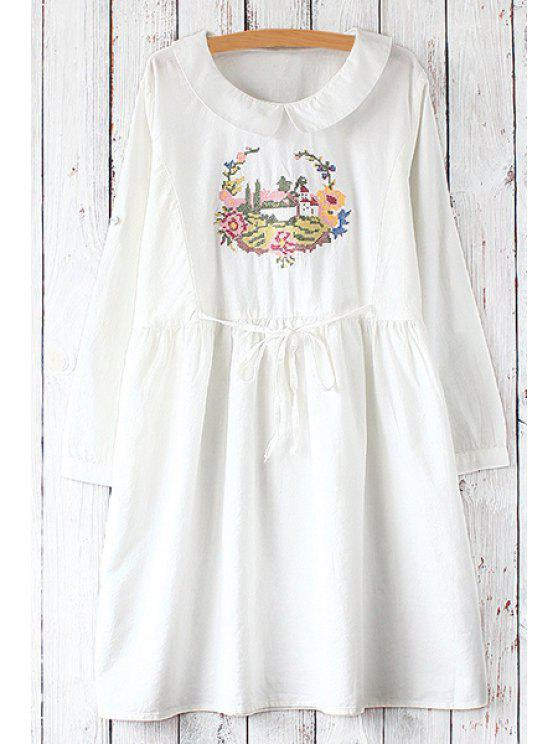 buy Flat Collar Long Sleeves Printed Dress - WHITE ONE SIZE(FIT SIZE XS TO M)