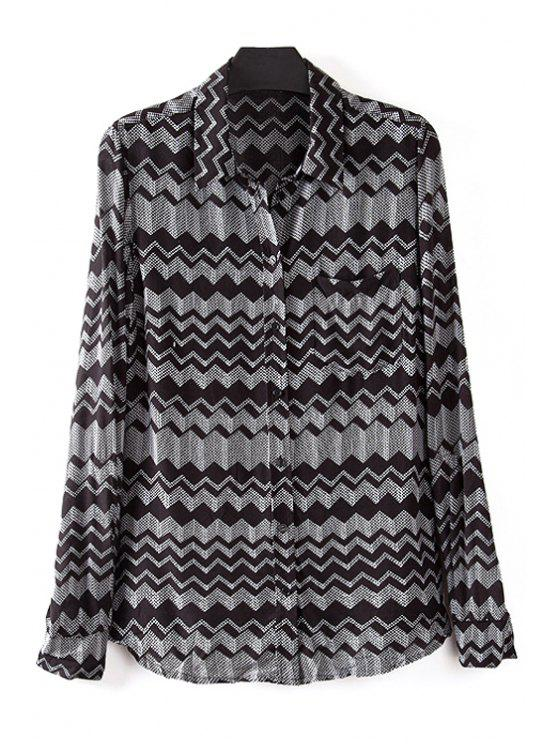 online Zig Zag Turn Down Collar Long Sleeve Shirt - WHITE AND BLACK S