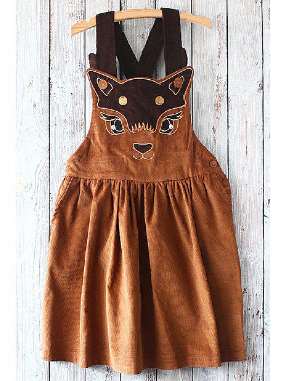 women's Straps Embroidery Print Corduroy Dress - DARK KHAKI ONE SIZE(FIT SIZE XS TO M)