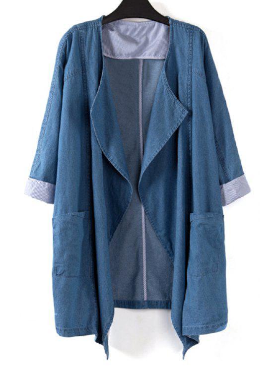 fancy Denim Turn Down Collar 3/4 Sleeve Coat - BLUE S