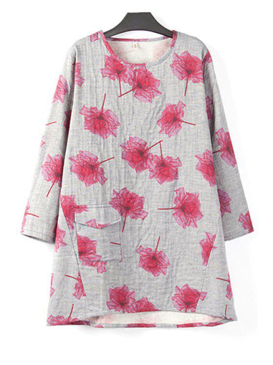 new Flower Print Long Sleeve T-Shirt - WINE RED XL