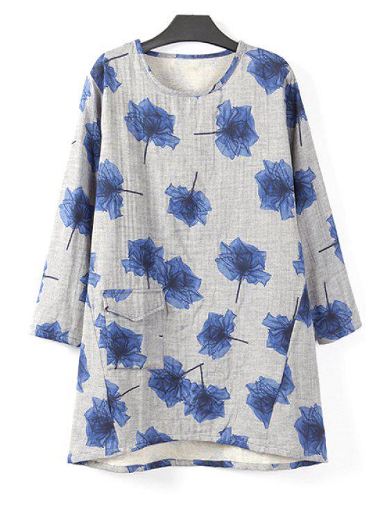 fashion Flower Print Long Sleeve T-Shirt - BLUE 2XL