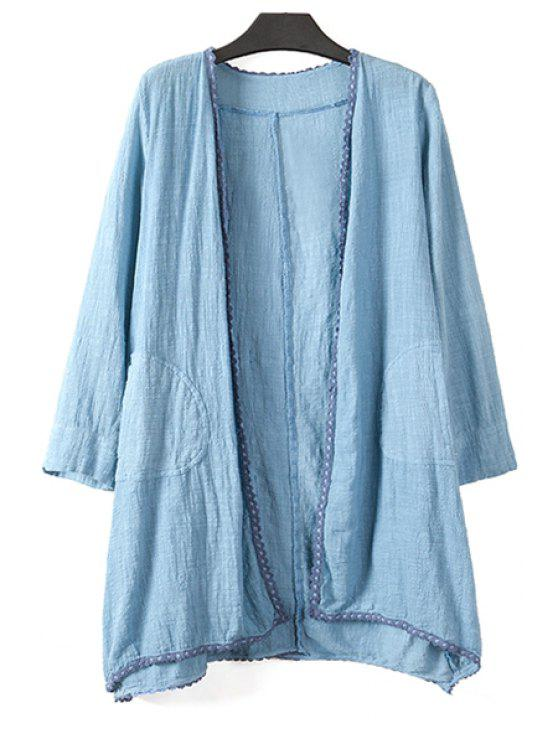 women's Pure Color Long Sleeve Linen Coat - BLUE ONE SIZE(FIT SIZE XS TO M)