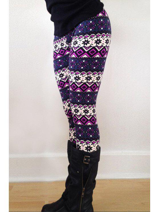best Geometric Print Skinny Purple Leggings - PURPLE ONE SIZE(FIT SIZE XS TO M)