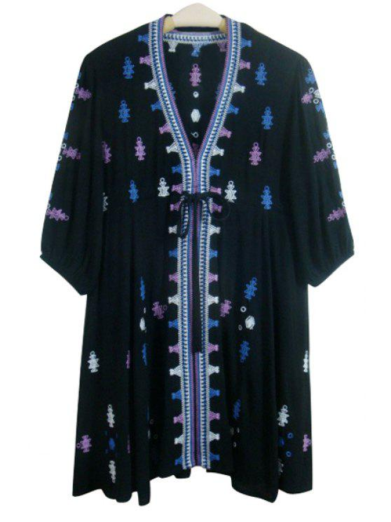 fancy Embroidery Print Loose Fitting Waisted V-Neck Dress - BLACK L
