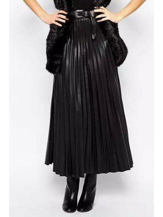 fancy PU Leather Pleated High Waisted Solid Color Skirt - BLACK L