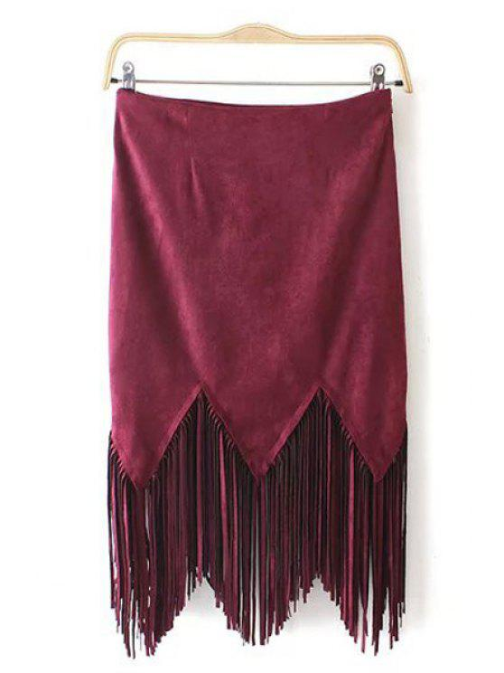 buy Suede Tassels Spliced Solid Color Skirt - RED S
