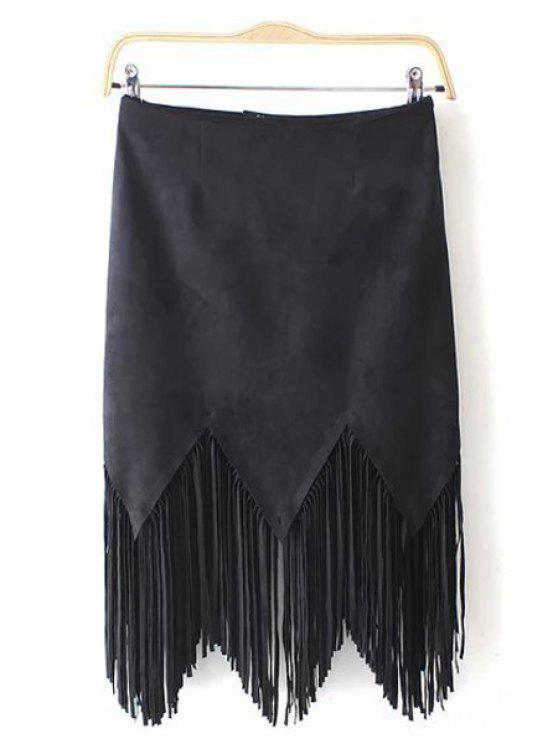 unique Suede Tassels Spliced Solid Color Skirt - BLACK S