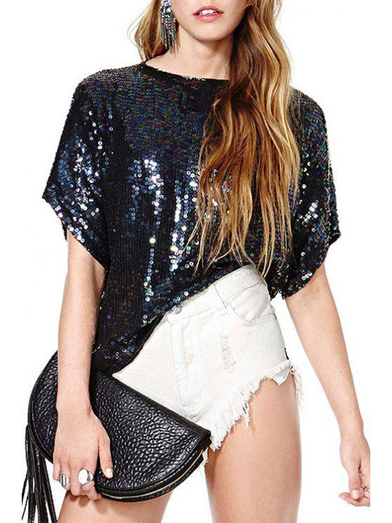 unique Short Sleeve Sequined T-Shirt - BLACK XS
