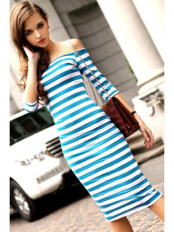unique Sexy Off The Shoulder Striped Dress - AZURE S
