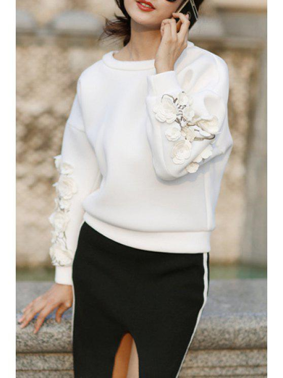 buy Applique Flower Round Collar Long Sleeves Sweatshirt - WHITE S