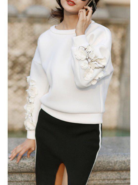 buy Applique Flower Round Collar Long Sleeves Sweatshirt - WHITE S